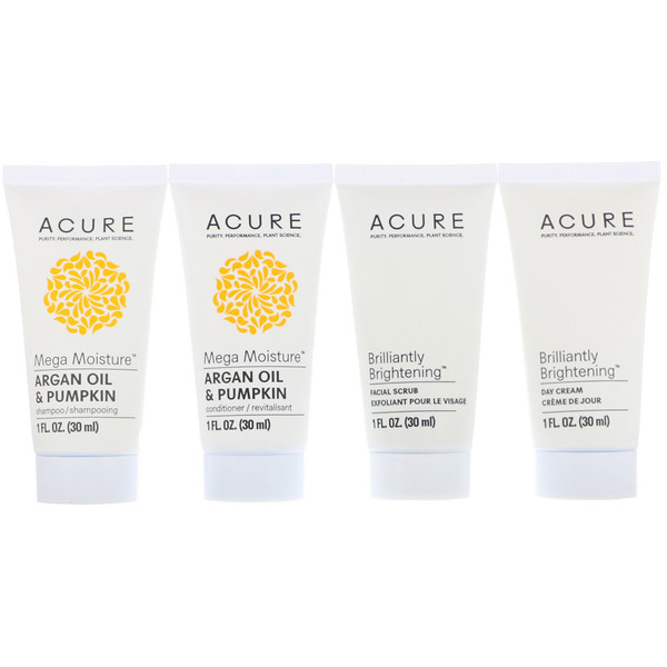 Acure, Travel Pack, Shampoo, Conditioner, Facial Scrub, Day Cream, 4 Pack, 1 oz (30 ml) Each (Discontinued Item)