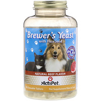 Brewer's Yeast, For Dogs & Cats, Natural Beef & Garlic Flavor, 90 Chewable Tablets - фото