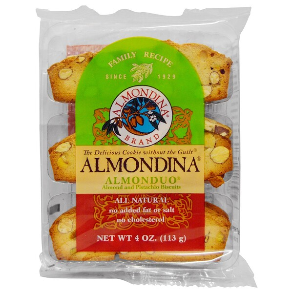 AlmonDuo, Almond and Pistachio Biscuits, 4 oz.