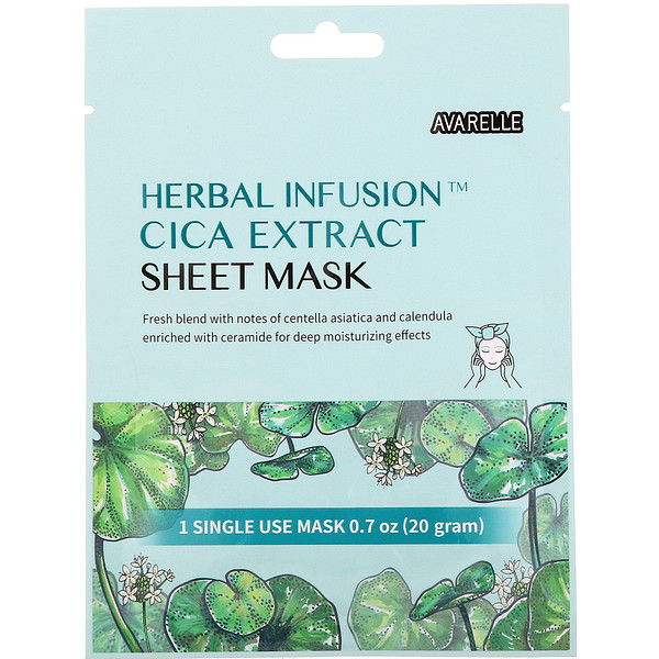 Herbal Infusion, Cica Extract Sheet Mask, 1 Sheet,0.7 oz (20 g)