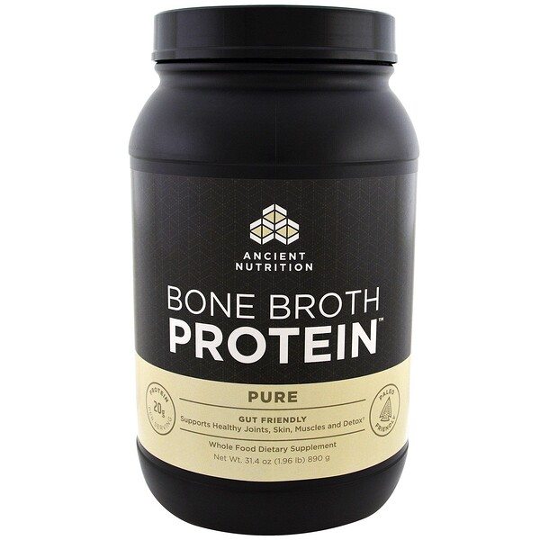Dr. Axe / Ancient Nutrition, Bone Broth Protein, чистый белок, 890 г (1,96 фунта)