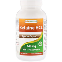Betaine HCL, 648 mg , 250 Capsules - фото