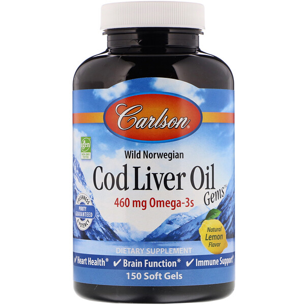 Wild Norwegian, Cod Liver Oil Gems, Natural Lemon Flavor, 460 mg, 150 Soft Gels