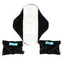 Regular Feminine Pads, Black, 3 Pads + 1 Tote Bag - фото