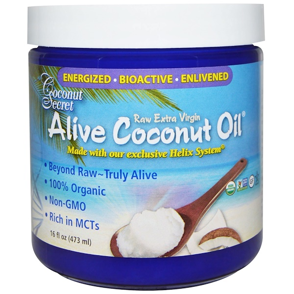 Organic Alive Coconut Oil, Raw Extra Virgin, 16 fl oz (473 ml)