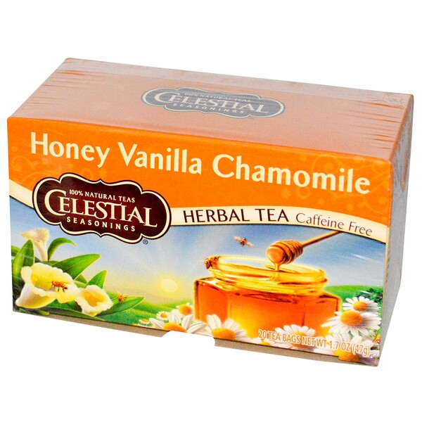 Celestial Seasonings, Травяной чай, без кофеина, мед, ваниль и ромашка 20 чайных пакетиков, 1.7 унции (47 г)