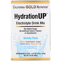 HydrationUP, Electrolyte Drink Mix, Variety Pack, 20 Packets, 0.15 oz (4.2 g) Each - фото