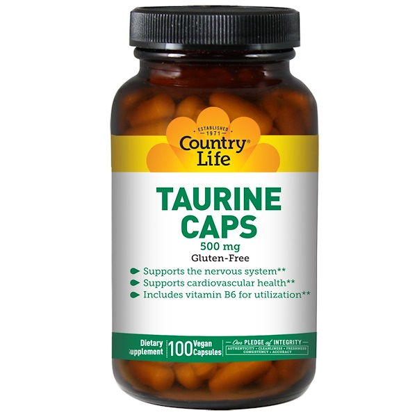 Country Life, Taurine Caps, 500 mg, 100 Veggie Caps (Discontinued Item)