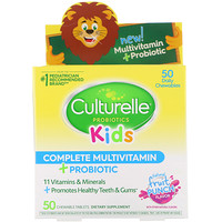 Kids Complete Multivitamin Plus Probiotic, Fruit Punch, 50 Chewable Tablets - фото
