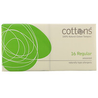 100% Natural Cotton Tampons, Regular, Unscented, 16 Tampons - фото