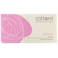 100% Natural Cotton Tampons, Super, Unscented, 16 Tampons - фото