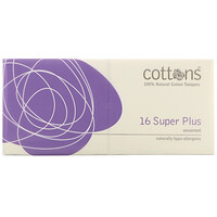 100% Natural Cotton Tampons, Super Plus, Unscented, 16 Tampons - фото