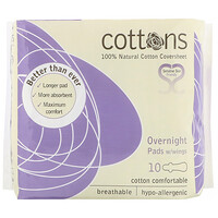 100% Natural Cotton Coversheet, Overnight Pads with Wings, Heavy, 10 Pads - фото