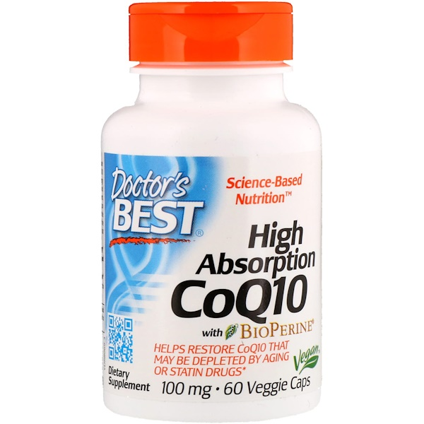 Doctor's Best, High Absorption CoQ10 with BioPerine, 100 mg, 60 Veggie Caps