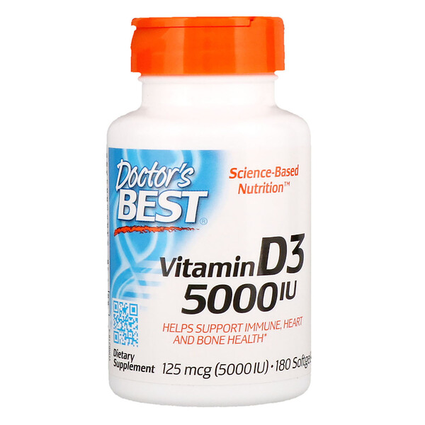 Doctor's Best, Vitamin D3, 125 mcg (5,000 IU), 180 Softgels