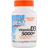 Vitamin D3, 125 mcg (5,000 IU), 360 Softgels - фото