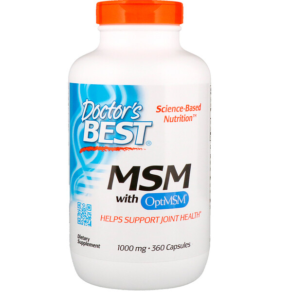 Doctor's Best, MSM with OptiMSM, 1,000 mg, 360 Capsules