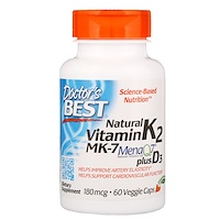 Natural Vitamin K2 MK-7 with MenaQ7 plus Vitamin D3, 180 mcg, 60 Veggie Caps - фото