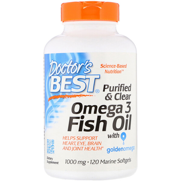 Purified & Clear Omega 3 Fish Oil with Goldenomega, 1,000 mg, 120 Marine Softgels