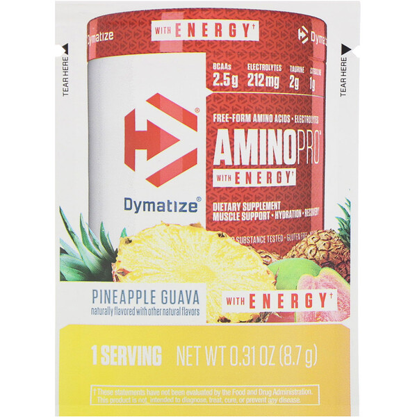 Dymatize Nutrition, AminoPro with Energy, Pineapple Guava with Caffeine, 0.31 oz (8.7 g) (Discontinued Item)