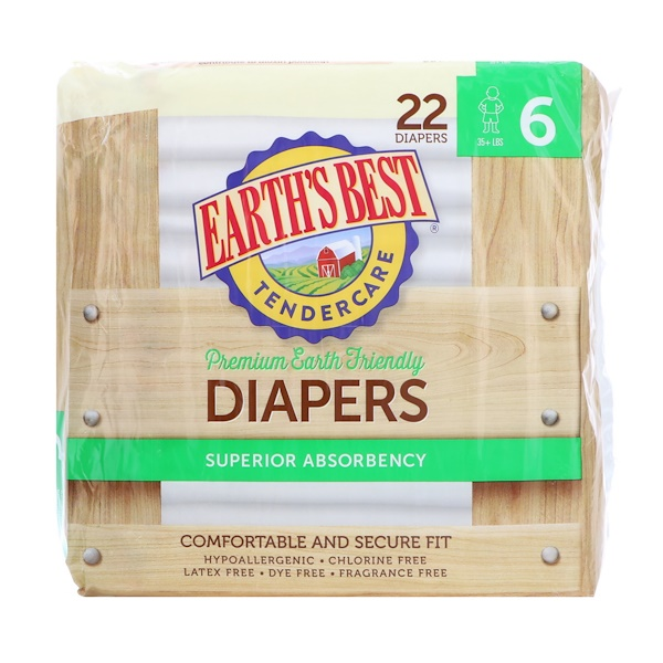Earth's Best, TenderCare, Premium Earth Friendly, Diapers, Size 6, 35 + lbs, 22 Diapers (Discontinued Item)