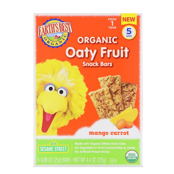 Earth's Best, Sesame Street, Organic Oaty Fruit, Snack Bars, Mango Carrot, 5 Bars, 0.88 oz (25 g) Each (Discontinued Item)