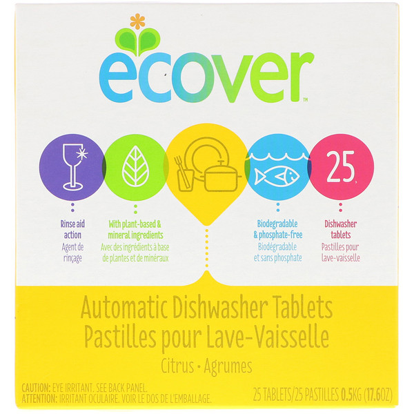 Ecover, Automatic Dishwasher Tablets, Citrus, 25 Tablets, 17.6 oz (0.5 kg) (Discontinued Item)