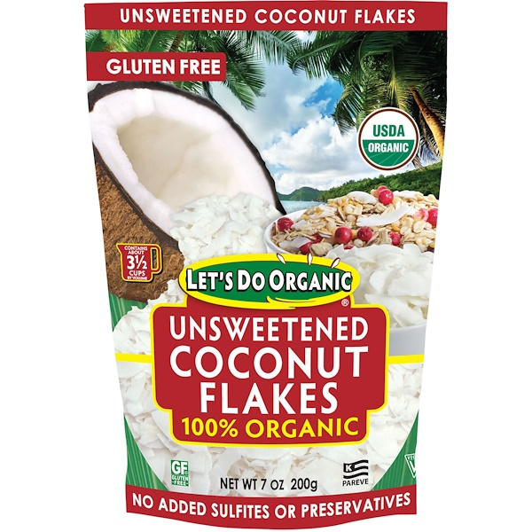 Edward & Sons, Edward & Sons, Let's Do Organic, 100% Organic Unsweetened Coconut Flakes, 7 oz (200 g)