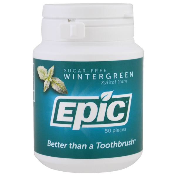 Epic Dental, Xylitol Gum, Sugar Free, Wintergreen, 50 Pieces (Discontinued Item)
