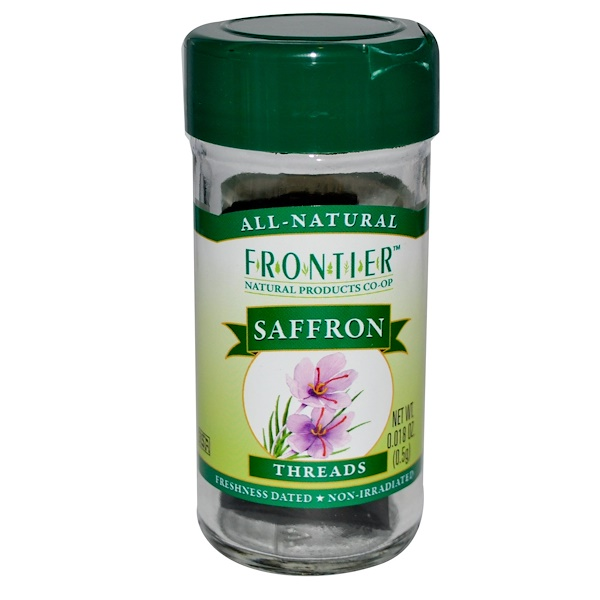 Frontier Natural Products, Тычинки шафрана, 0,018 унции (0,5 г) (Discontinued Item)