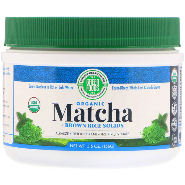 Green Foods , Organic Matcha + Brown Rice Solids, 5.5 oz (156 g)