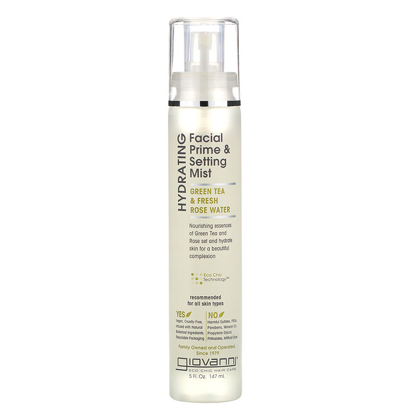Hydrating Facial Prime & Setting Mist, Green Tea & Fresh Rose Water, 5 fl oz (147 ml)