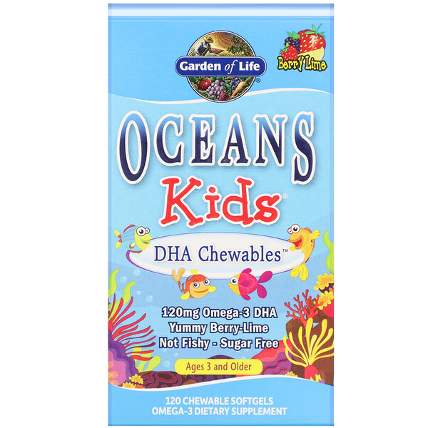 Oceans Kids, DHA Chewables, Age 3 and Older, Yummy Berry Lime, 120 mg, 120 Chewable Softgels