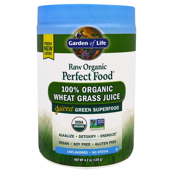 Garden of Life, RAW Organic Perfect Food, 100% Organic Wheat Grass Juice, Unflavored, 4.2 oz (120 g) (Discontinued Item)