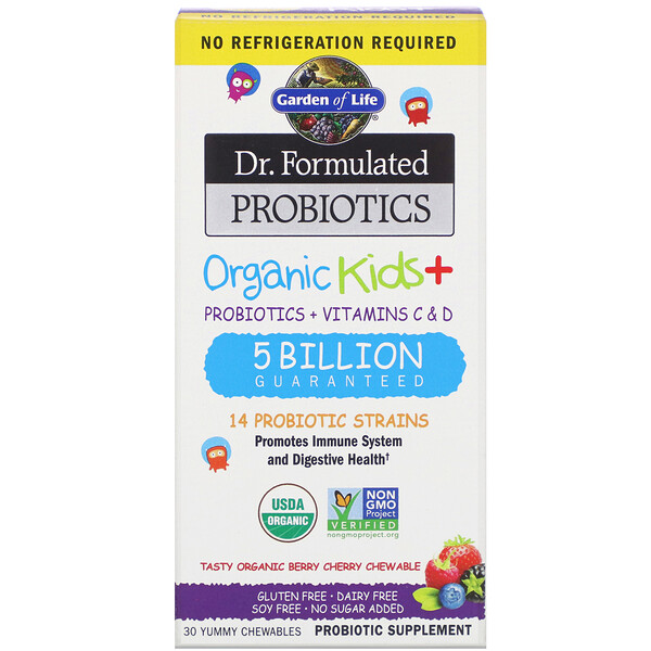Dr. Formulated Probiotics, Organic Kids +, Tasty Organic Berry Cherry, 30 Yummy Chewables