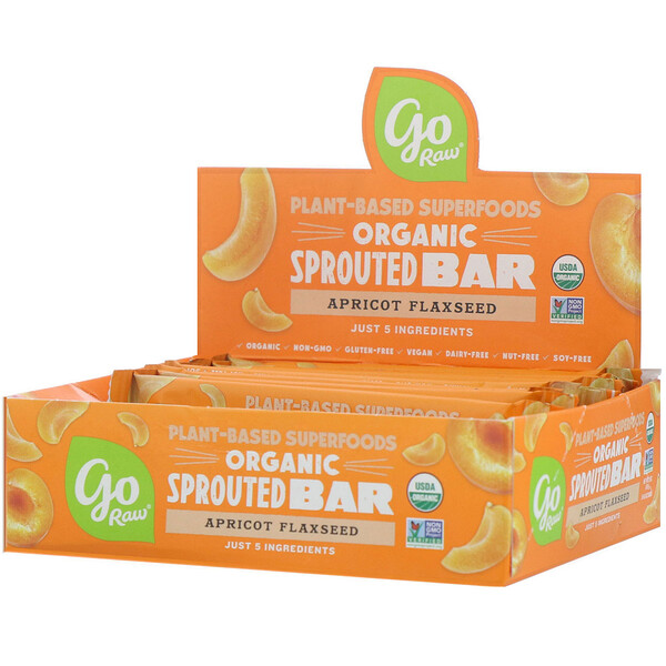 Go Raw, Organic Sprouted Bar, Apricot Flaxseed , 10 Bars, 0.4 oz (11 g) Each (Discontinued Item)