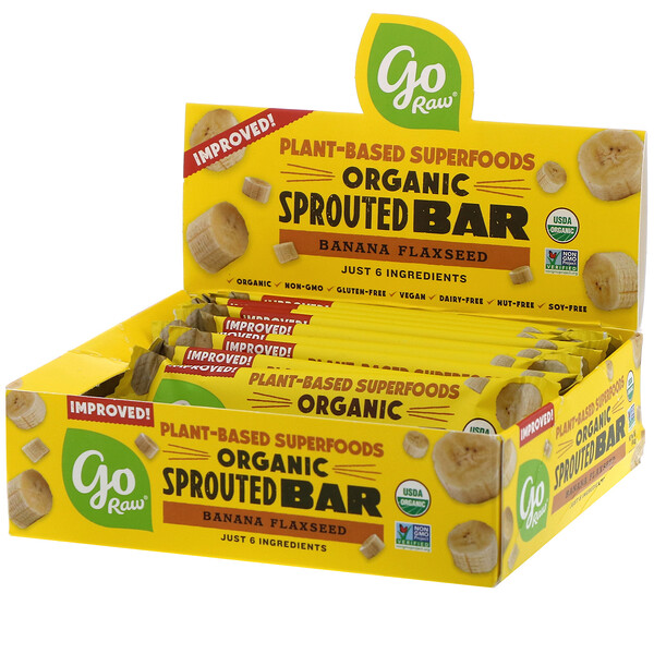 Go Raw, Organic Sprouted Bar, Banana Flaxseed , 10 Bars, 0.4 oz (11 g) Each (Discontinued Item)