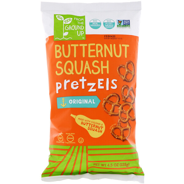 From The Ground Up, Butternut Squash Pretzels, Twists, 4.5 oz (128 g) (Discontinued Item)