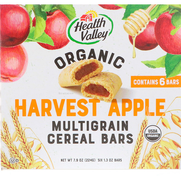 Health Valley, Organic Multigrain Cereal Bars, Harvest Apple, 6 Bars, 1.3 oz Each (Discontinued Item)