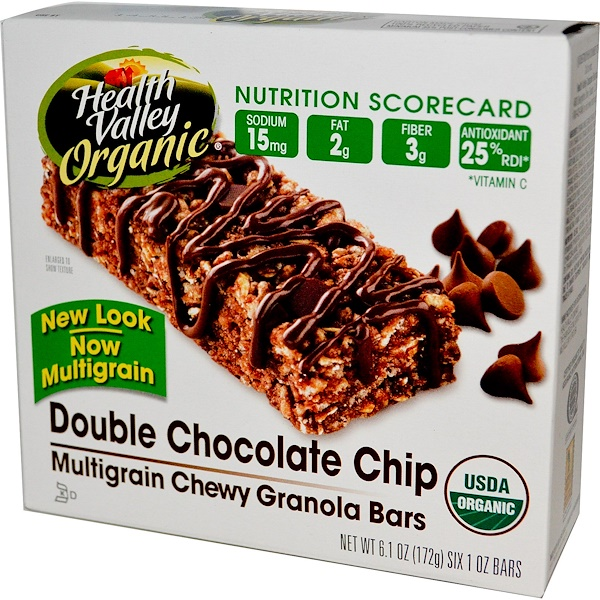 Health Valley, Organic Multigrain Chewy Granola Bars, Double Chocolate Chip, 6 Bars, 29 g Each (Discontinued Item)