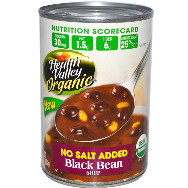 Health Valley, Organic, Black Bean Soup, No Salt Added, 15 oz (425 g) (Discontinued Item)