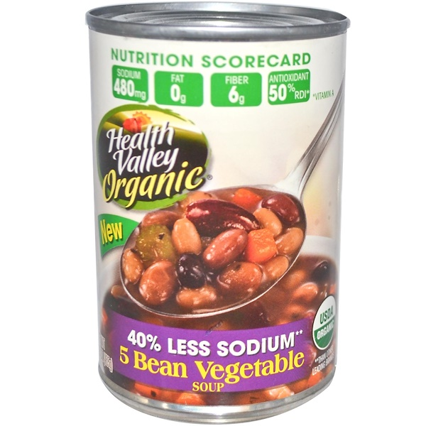 Health Valley, Organic, 5 Bean Vegetable Soup, 15 oz (425 g) (Discontinued Item)