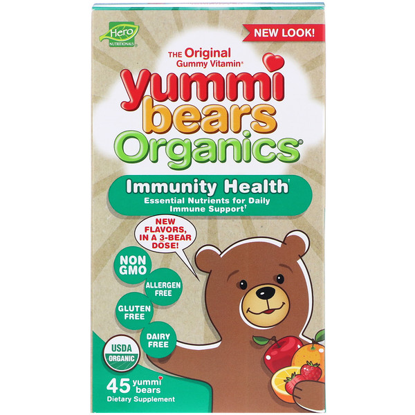 Hero Nutritional Products, Yummi Bears Organics, Immunity Health, 45 Yummi Bears (Discontinued Item)