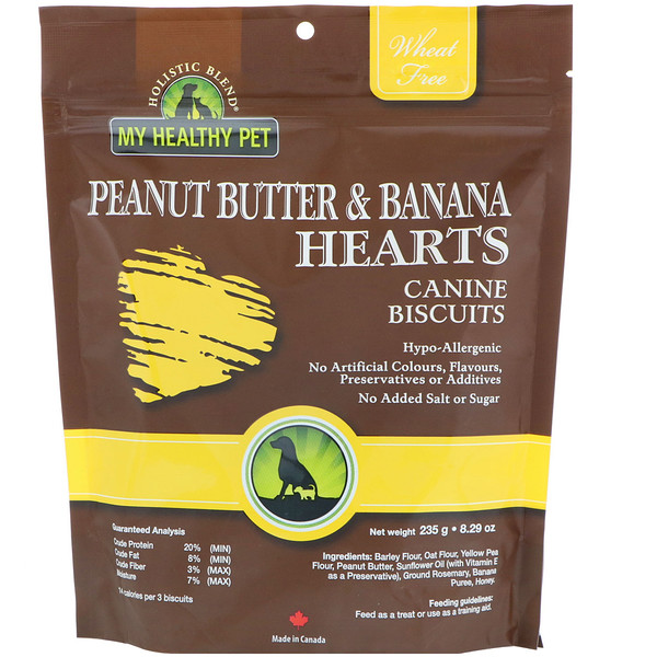 Holistic Blend, My Healthy Pet, Peanut Butter & Banana Hearts, Canine Biscuits, 8.29 oz (235 g) (Discontinued Item)