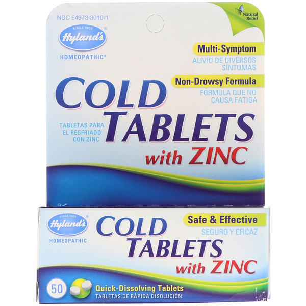 Hyland's, Cold Tablets with Zinc, 50 Quick-Dissolving Tablets (Discontinued Item)