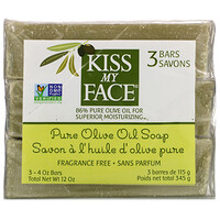 Pure Olive Oil Soap, Fragrance Free, 3 Bars, 4 oz (115 g) Each - фото