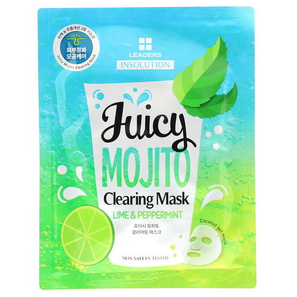 Leaders, Insolution, Juicy Mojito Clearing Mask, Lime & Peppermint, 1 Sheet, 1.01 fl oz (30 ml)