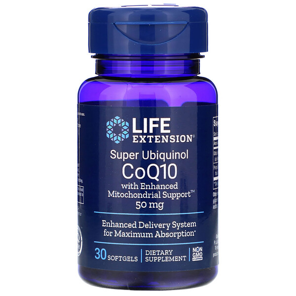 Super Ubiquinol CoQ10 with Enhanced Mitochondrial Support, 50 мг, 30 капсул