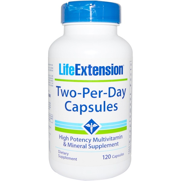 Life Extension, Капсулы Two-Per-Day, 120 капсул (Discontinued Item)