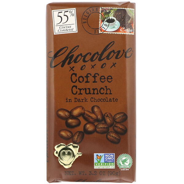 Coffee Crunch in Dark Chocolate, 55% Cocoa, 3.2 oz (90 g)